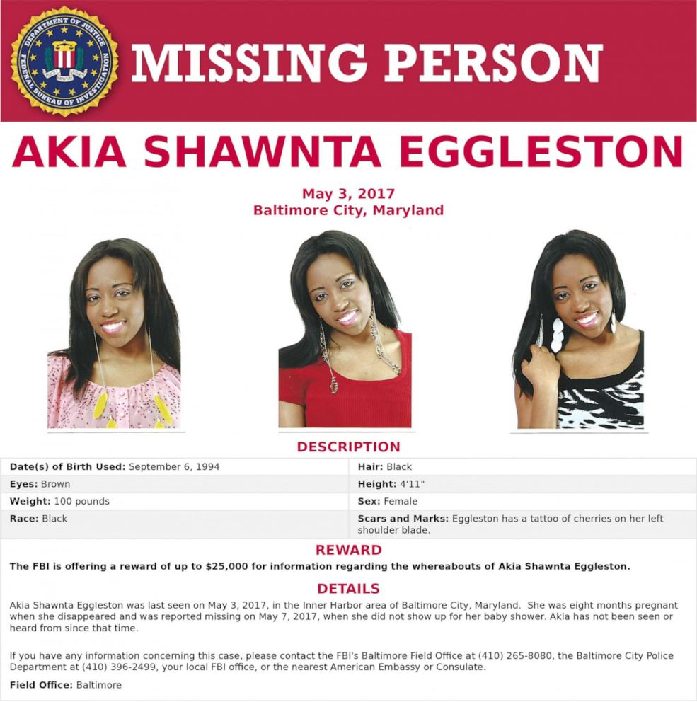 PHOTO: Akia Shawnta Eggleston was last seen on May 3, 2017, in the Inner Harbor area of Baltimore City, Md.