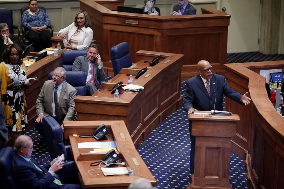 PHOTO: State Sen. Rodger Smitherman speaks during a state Senate vote on a strict anti-abortion bill at the Alabama Legislature in Montgomery, Ala., May 14, 2019.