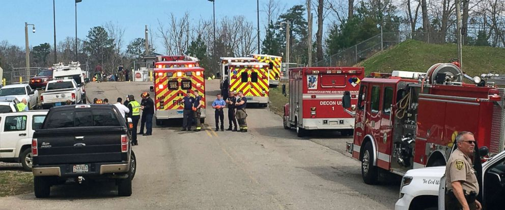 PHOTO: Emergency personnel gather near Birmingham Water Works where a chemical spill sent more than 50 people to the hospital, Feb. 27, 2019.