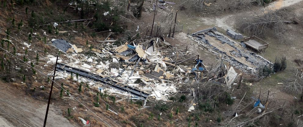 PHOTO: A tornado damaged home is shown as President Donald Trump flies above en route to Auburn, Ala., Friday, March 8, 2019. More storms, possibly including tornadoes, are expected in the South this week.