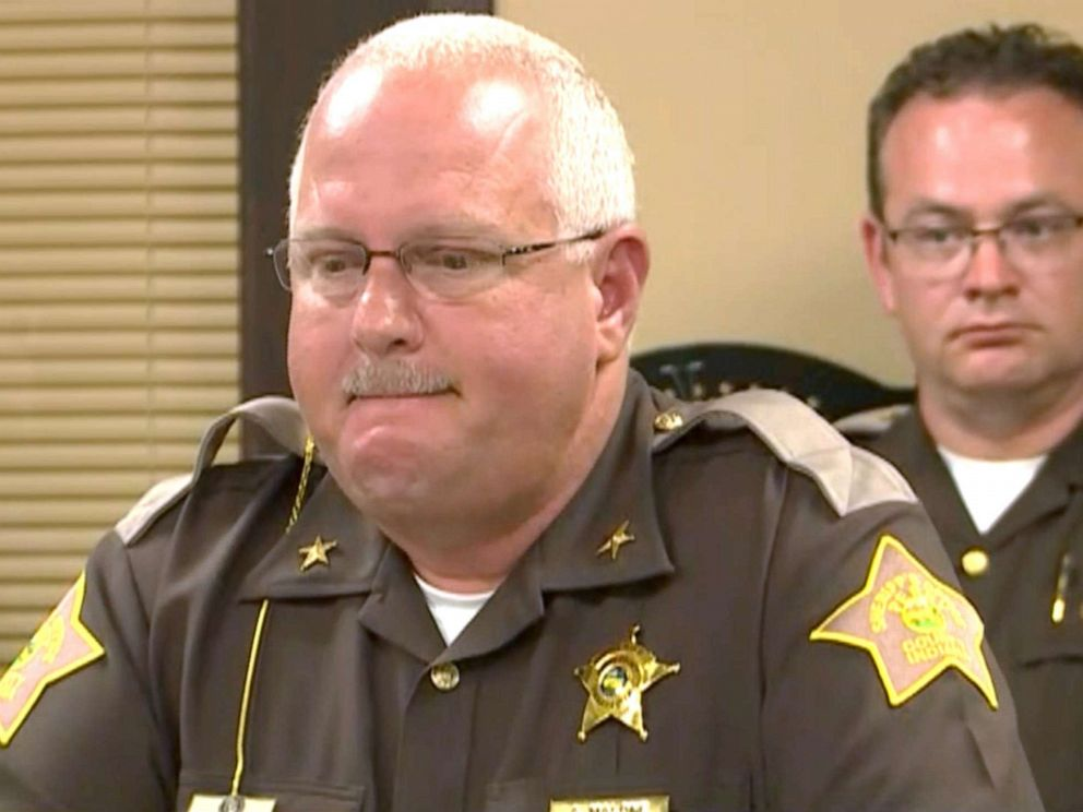 PHOTO: Perry County Sheriff Alan Malone speaks at a news conference after an 11-year-old Girl Scout was killed by a falling tree in Indiana.