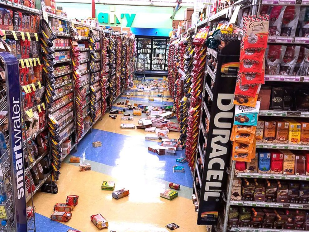 PHOTO: Merchandise that fell off the shelves during an earthquake is pictured at a store in Anchorage, Ala., Nov. 30, 2018.