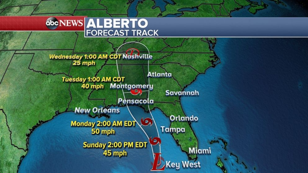 Alberto expected to make landfall Monday