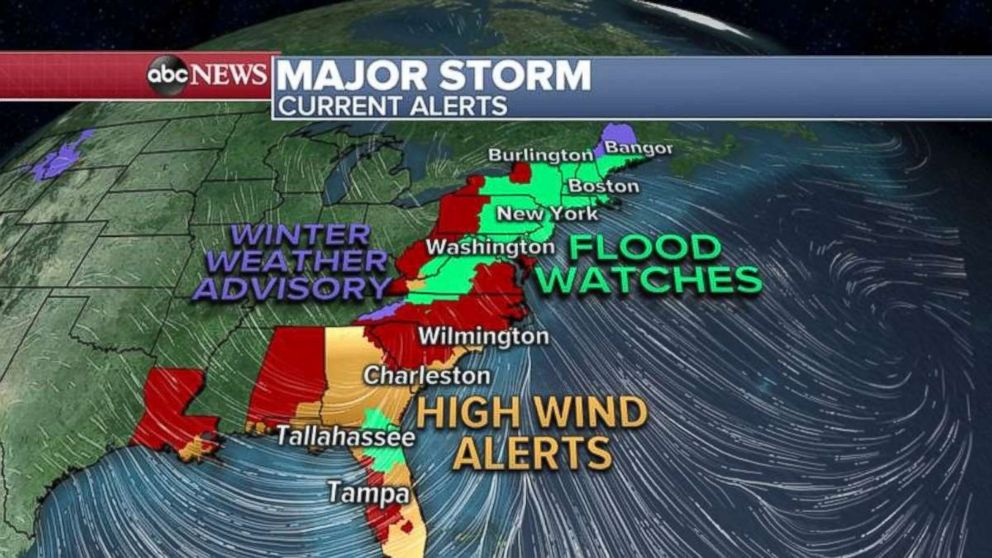 PHOTO: Flood, wind and winter weather alerts are in place across the eastern U.S. on Friday.