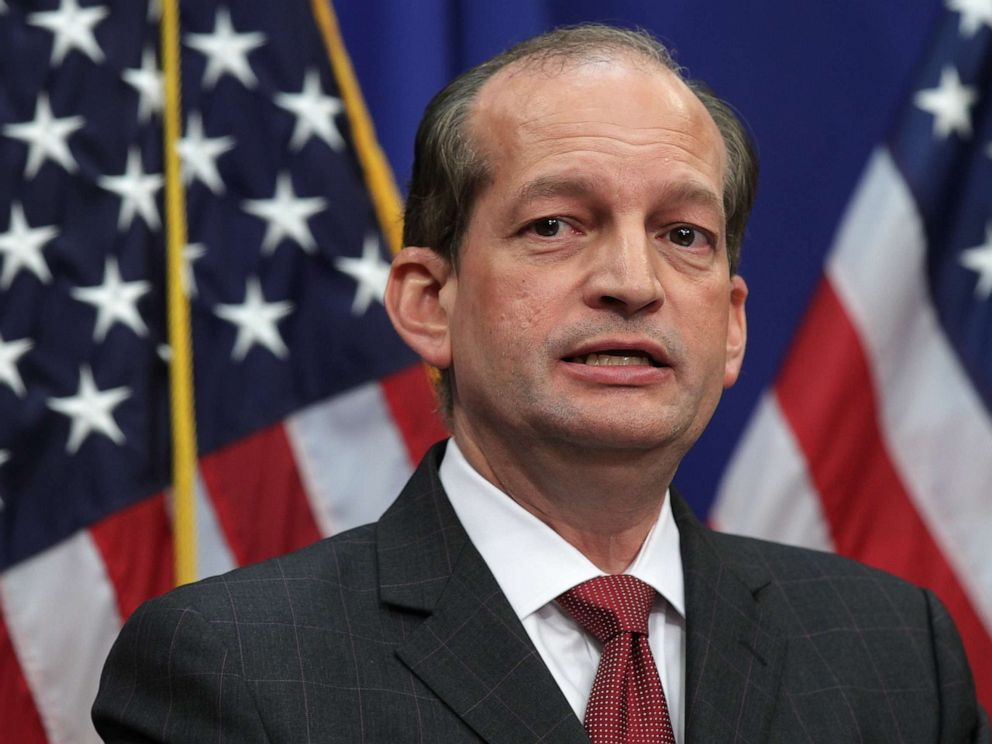 PHOTO: Alex Acosta speaks during a press conference July 10, 2019 at the Labor Department in Washington, DC. Secretary Acosta discussed his role in the sexual abuse case of accused sex trafficker Jeffrey Epstein.
