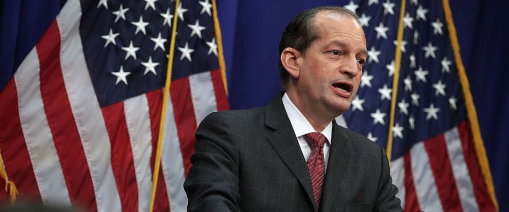 PHOTO: Secretary of Labor Alex Acosta speaks during a press conference, July 10, 2019, at the Labor Department in Washington, DC.