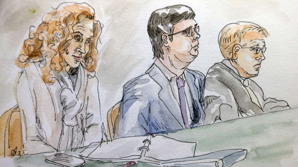 In this courtroom sketch James Alex Fields Jr., center, sits with his attorneys Denise Lunsford, left, and John Hill during the second day of jury selection in his trial in Charlottesville General District Court in Charlottesville, Va., Nov. 27, 2018.