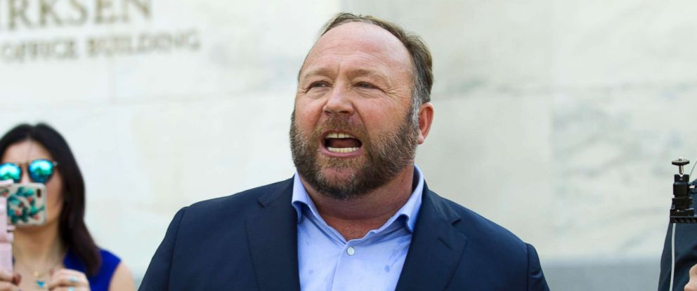 PHOTO: Conspiracy theorist Alex Jones speaks outside after listening to a Senate Intelligence Committee meeting on Capitol Hill, Sept. 5, 2018, in Washington.