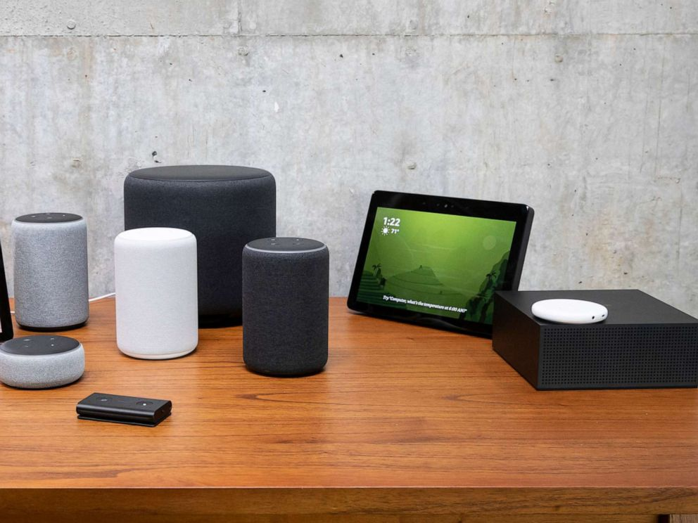 PHOTO: In this Sept. 20, 2018, file photo, an assortment of devices, including an Echo Input, Echo Show, Echo Plus, Echo Sub, Echo Auto and Firetv Recast are pictured at Amazon Headquarters, following a launch event in Seattle.