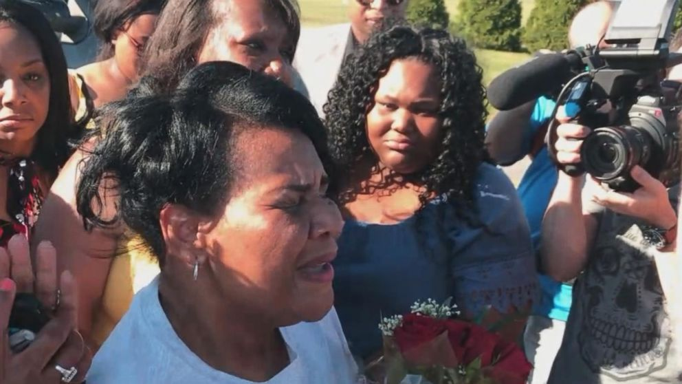 PHOTO: Alice Johnson, a 63-year-old grandmother serving a life sentence on drug charges whose cause was championed by Kim Kardashian West, had an emotional reunion with her family Wednesday after her sentence was commuted by President Donald Trump.