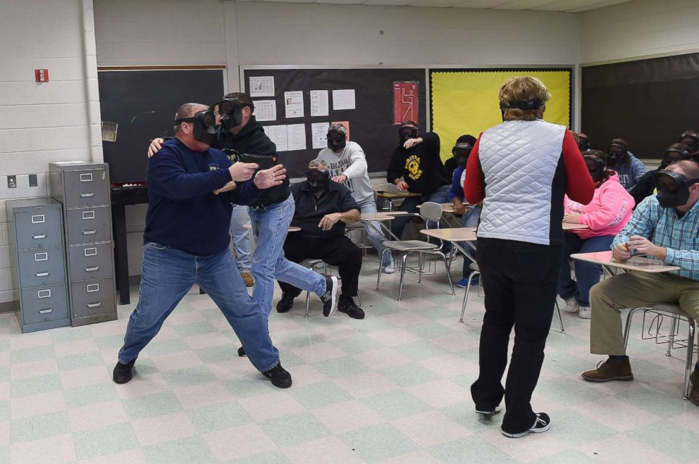 PHOTO: An active shooter (L) is tackled during ALICE (Alert, Lockdown, Inform, Counter and Evacuate) training at the Harry S. Truman High School in Levittown, Penn., Nov. 3, 2015.