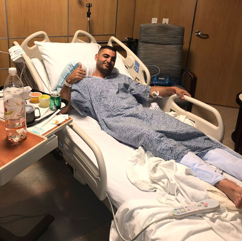 PHOTO: Almog Peretz is pictured in the hospital after surviving a shooting at the Chabad of Poway Synagogue outside of San Diego, Calif., on April 27, 2019.