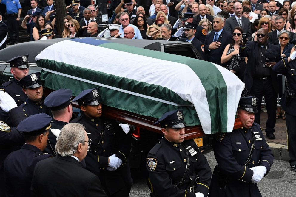PHOTO: TThe casket is carried during the funeral mass at the Immaculate Conception Church in New York City, July 3, 2019 for 9/11 first responder Luis Alvarez, a former New York Police Department detective.