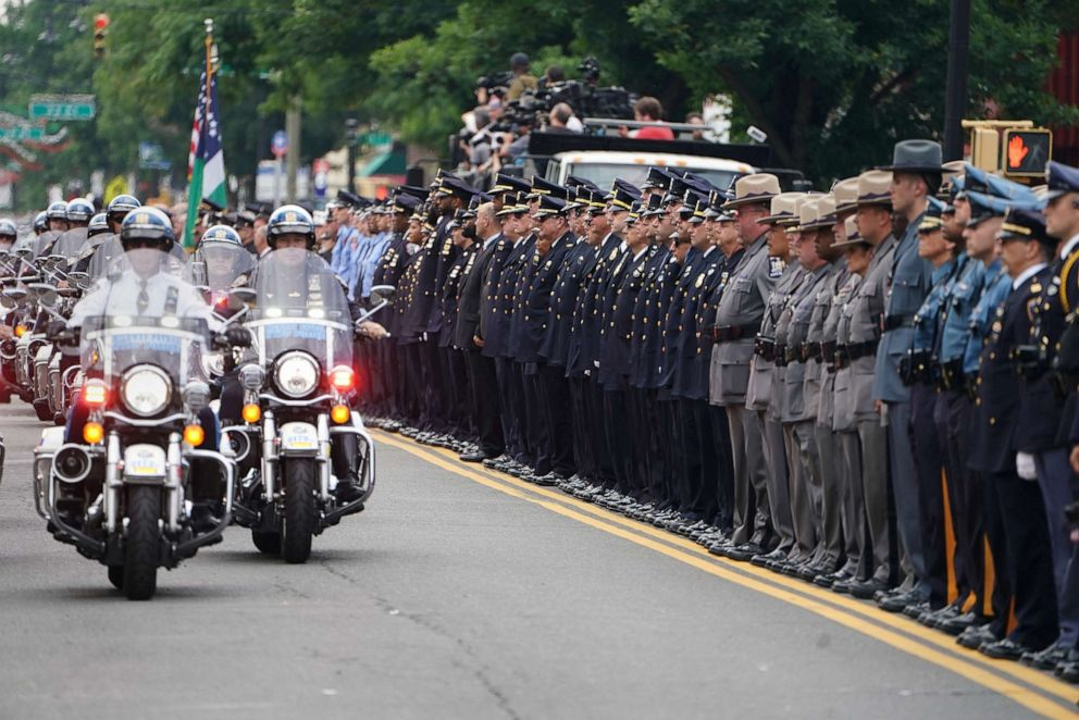 PHOTO: Motorcycles arrive for the funeral of former NYPD Detective Luis Alvarez in the Queens borough of New York City, July 3, 2019.
