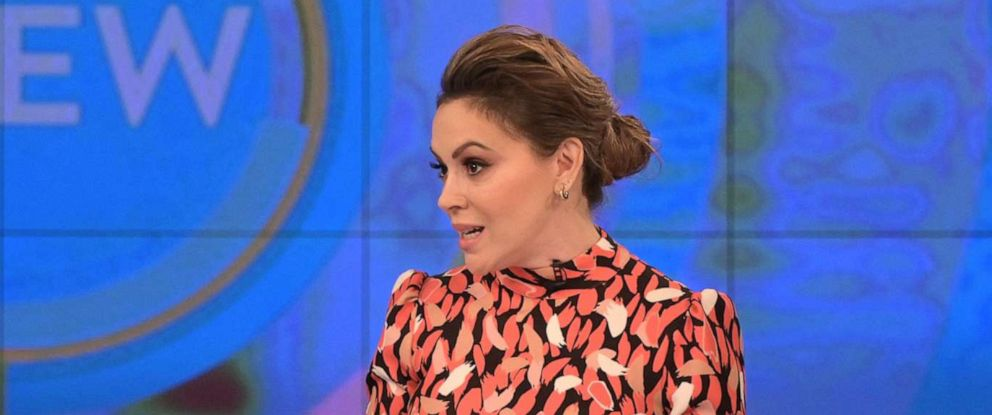 "PHOTO: Actress Alyssa Milano opens up on ""The View"" about why she decided to share her #MeToo story 25 years after the alleged incident Wednesday, Oct. 16, 2019."
