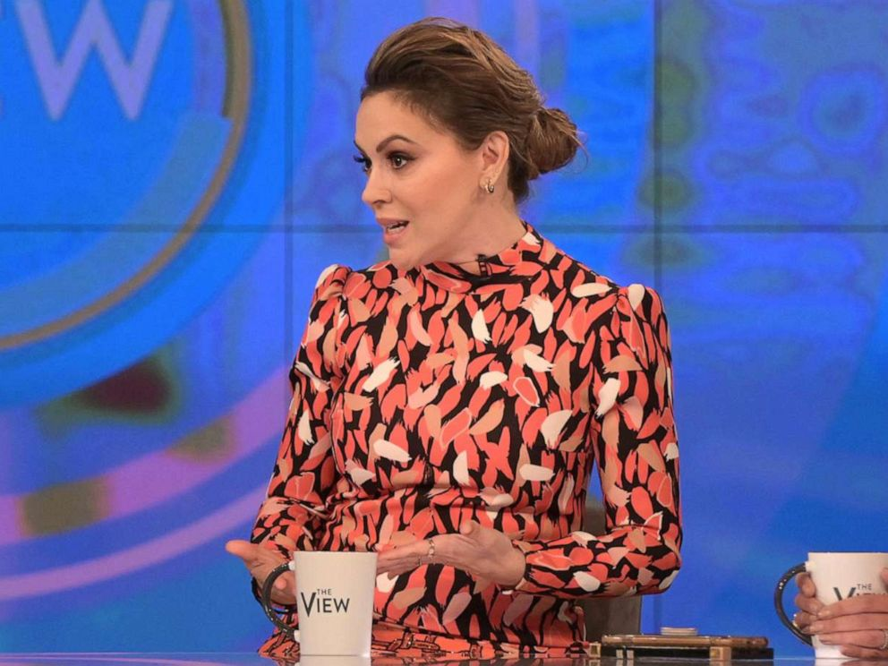 PHOTO: Actress Alyssa Milano opens up on The View about why she decided to share her #MeToo story 25 years after the alleged incident Wednesday, Oct. 16, 2019.