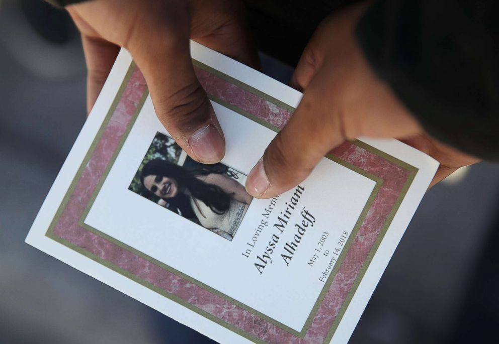 PHOTO: A program is seen from the funeral of Alyssa Alhadeff at the Garden of Aaron at Star of David Memorial Gardens in Parkland, Fla., Feb. 16, 2018.