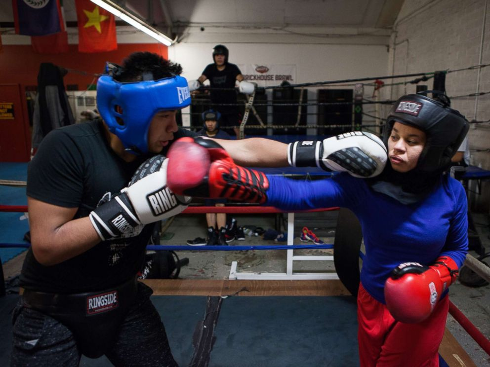 PHOTO: Amaiya Zafar spars another boxer at Circle of Discipline gym in Minneapolis.