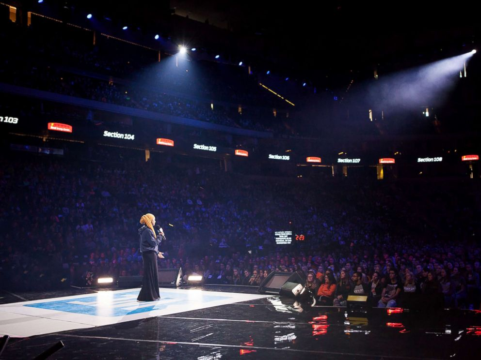 PHOTO: Amaiya Zafar speaks during a WE day event in Minnesota.