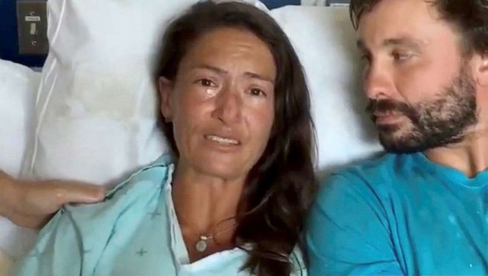 PHOTO: Amanda Eller, a yoga instructor who went missing while hiking in Mauis Makawao Forest Reserve, speaks from her hospital bed at Maui Memorial Medical Center in Hawaii, May 25, 2019, after she was rescued.