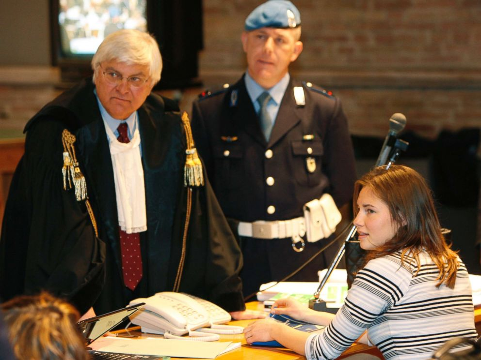 PHOTO: Amanda Knox and her lawyer Luciano Ghirga, left, are seen during the first day of trial, in Perugia, Italy in this, Jan. 16, 2009 file photo.