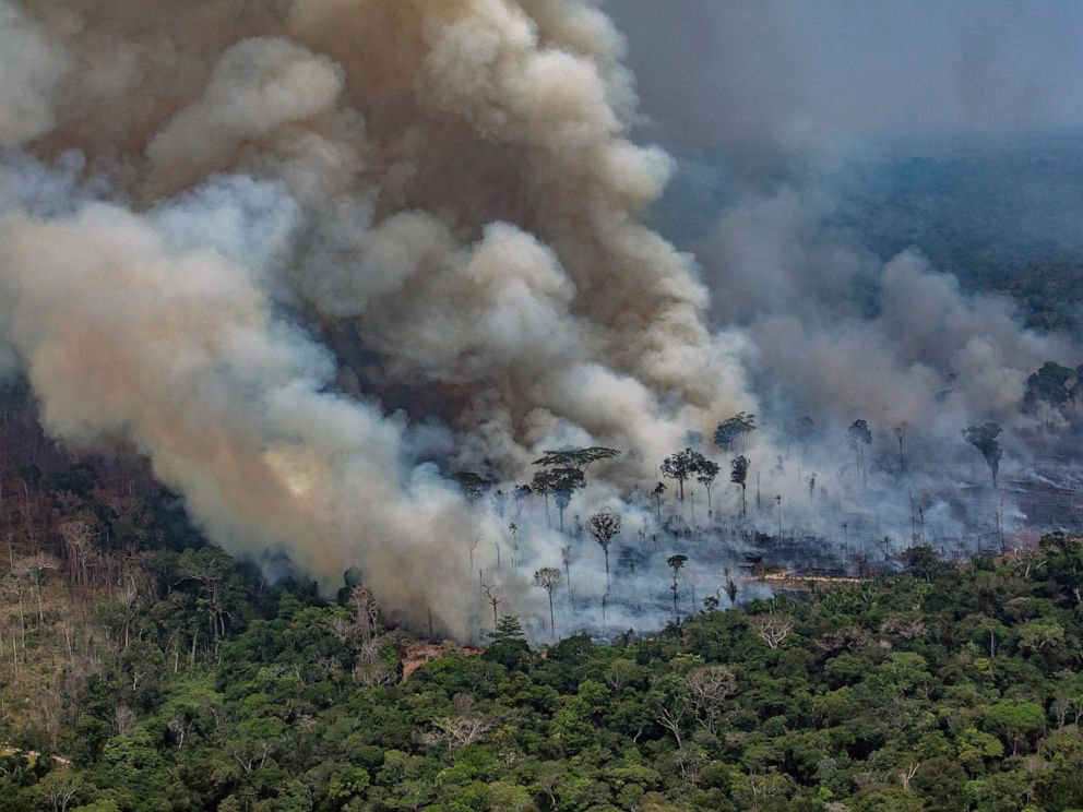 PHOTO: Smoke from forest fires billows in the Amazon basin in northwestern Brazil, Aug. 24, 2019.