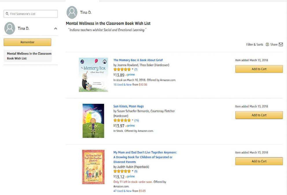 PHOTO: Amazon: Elementary school teacher Tina DuBrocks mental wellness book wish list on Amazon is shown here.