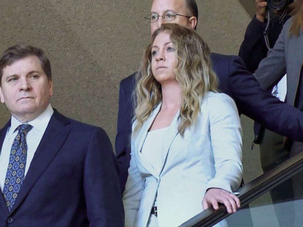 PHOTO: Former Dallas Police officer Amber Guyger, charged with the murder of Botham Jean, leaves court in Dallas on Jan. 29, 2019.