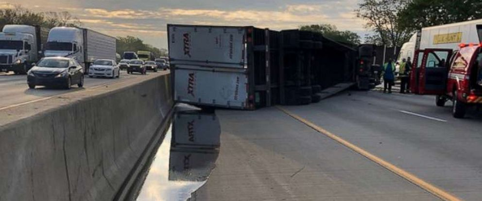 PHOTO: A semi-truck overturned and spilled honey on the eastbound lanes of I-80-94 in Indiana, May 15, 2019.