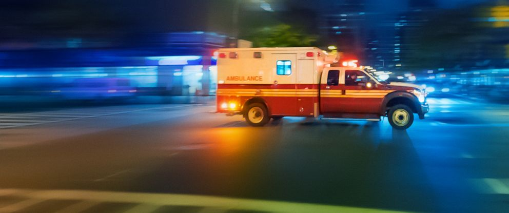 PHOTO: An ambulance drives at night is seen in this undated stock image.