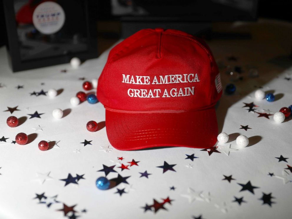 PHOTO: A Make America Great Again hat sits on a table ahead of an election night party for 2016 Republican Presidential Nominee Donald Trump at the Hilton Midtown hotel in New York, Nov. 8, 2016.