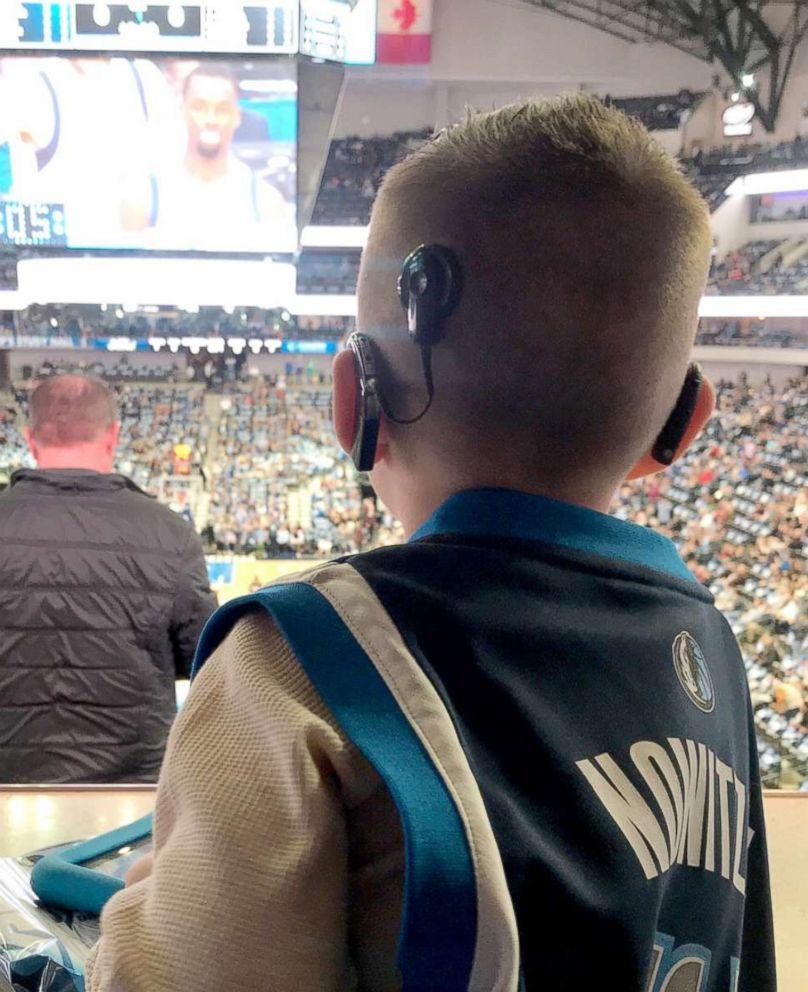 PHOTO: Jace Lee, 4, of North Texas, is classified as having severe to profound deafness. He has a cochlear implant in his left ear and a hearing aid in his right. On Jan. 9, he attended his first Dallas Mavericks NBA game.