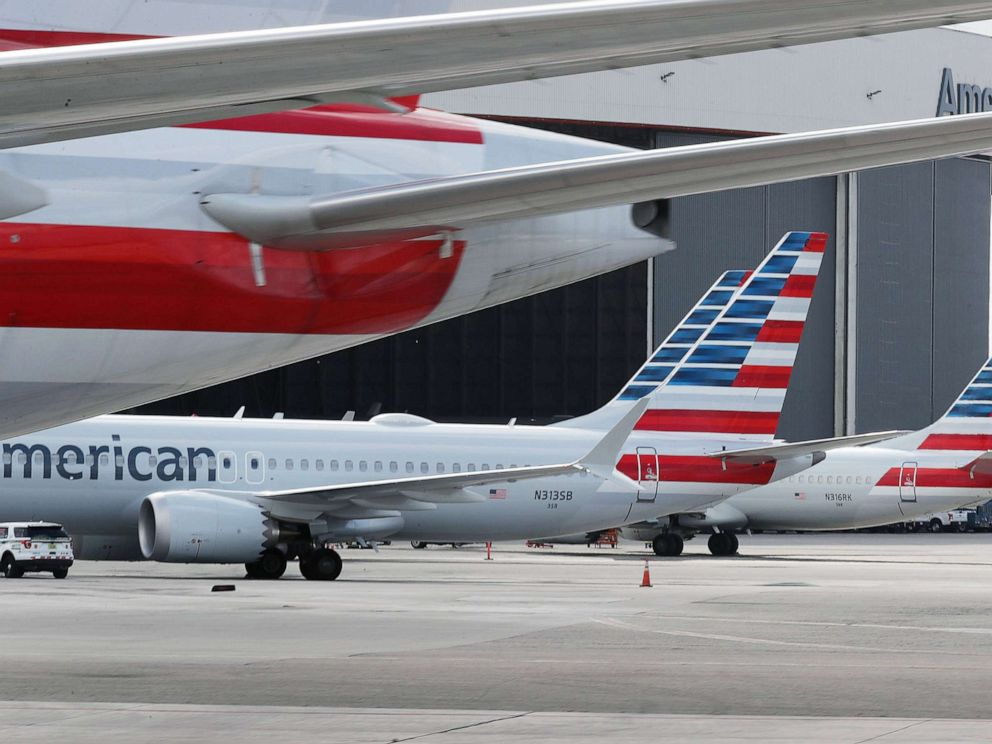 PHOTO: Grounded American Airlines Boeing 737 Max 8 are seen parked at Miami International Airport in this March 14, 2019 file photo in Miami.