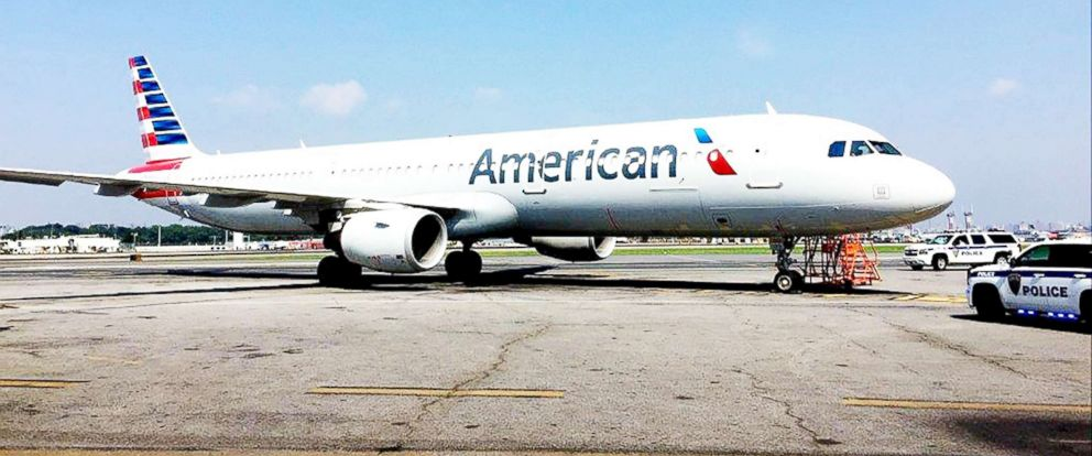 PHOTO: An American Airlines plane is pictured at LaGuardia Airport in New York.