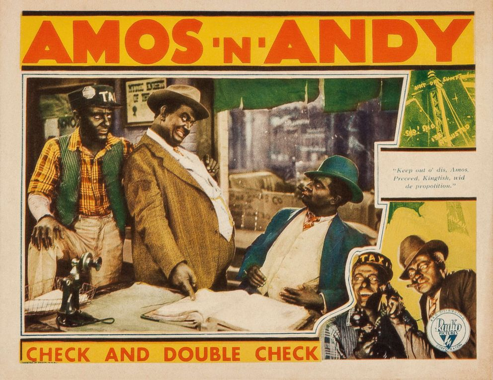 PHOTO: A lobby card from the comedy Check and Double Check starring radios Freeman Godsen and Charles Correll in blackface as Amos and Andy, with Duke Ellington and His Cotton Club Orchestra, 1929.