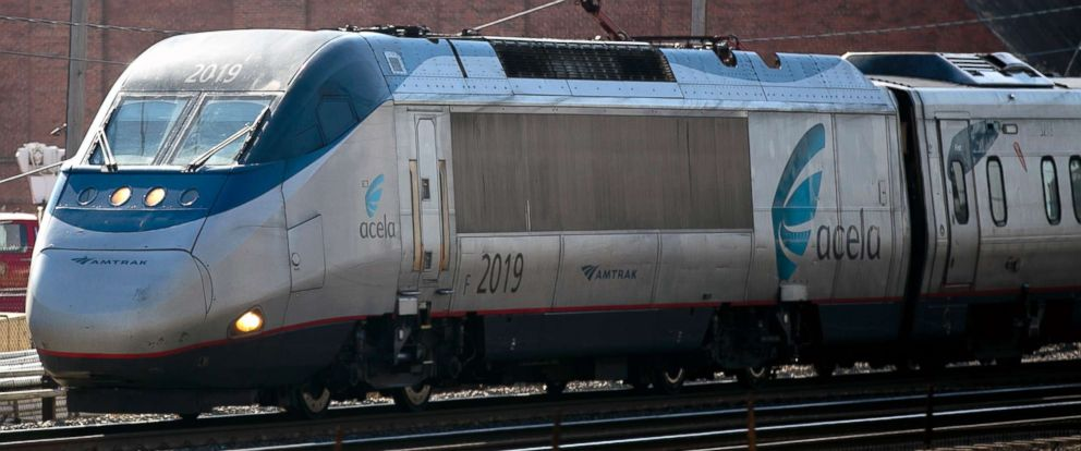 PHOTO: This file photo shows an Amtrak Acela passenger train departing Union Station in Washington, D.C. on Friday, Feb. 15, 2013.