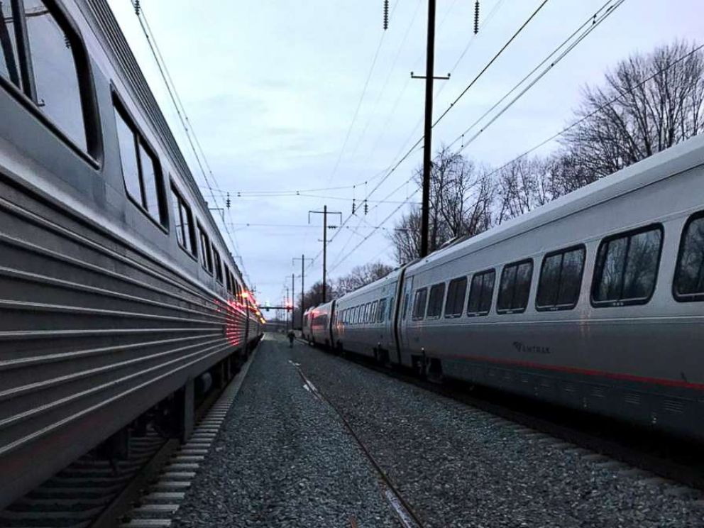 PHOTO: Passenger Andrew Exum took a photo of the Amtrak Acela Express train No. 2150, right, after a mechanical incident caused two cars to separate en route to Boston from Washington, D.C., Feb. 6, 2018.