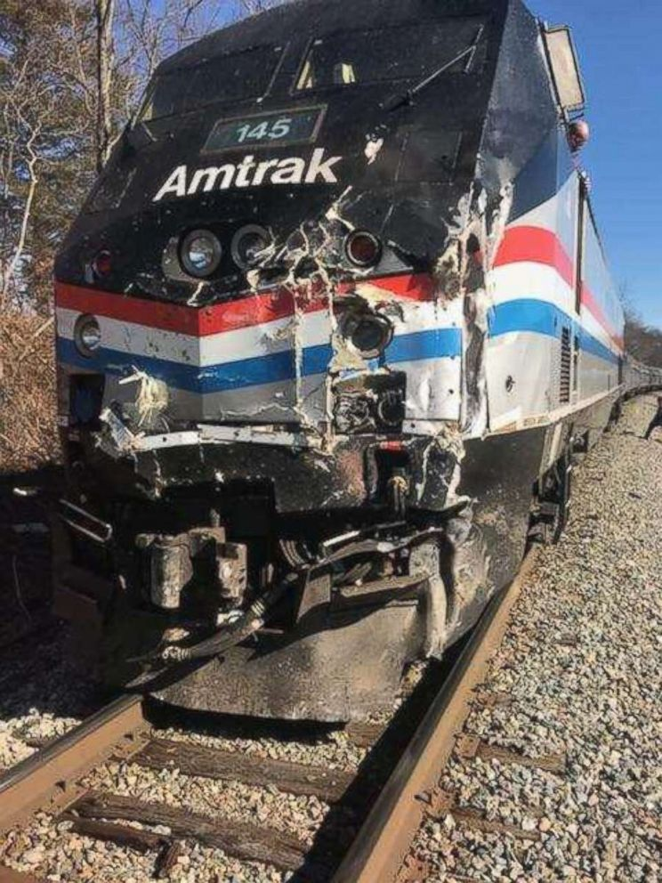 PHOTO: The front engine of the train carrying multiple U.S. Congressmen on their way to the GOP retreat in Greenbrier, West Virginia following a collision.