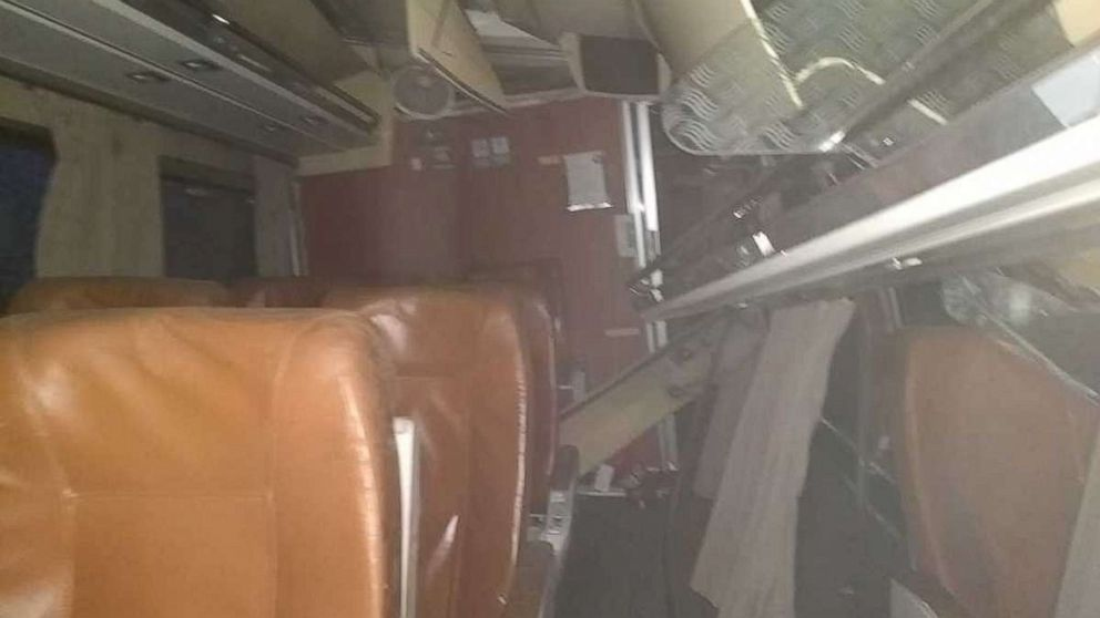 This image shows the interior of the Amtrak train after it derailed going over a bridge near Dupont, Washington, Dec. 18, 2017.