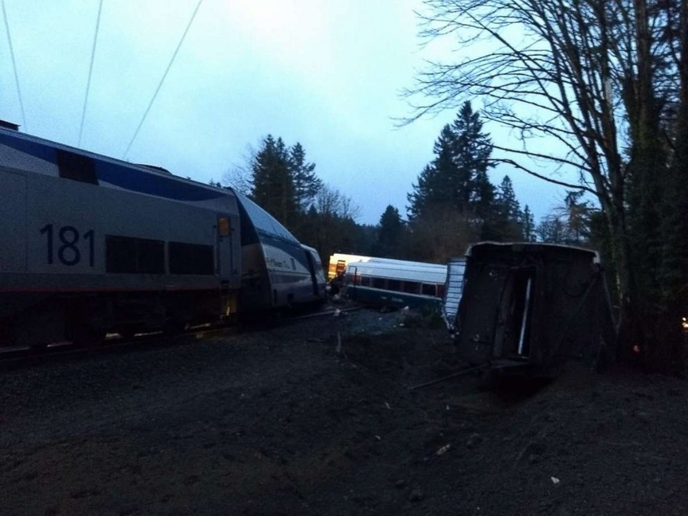 PHOTO: This image shows the exterior of the Amtrak train after it derailed going over a bridge near Dupont, Washington, Dec. 18, 2017.