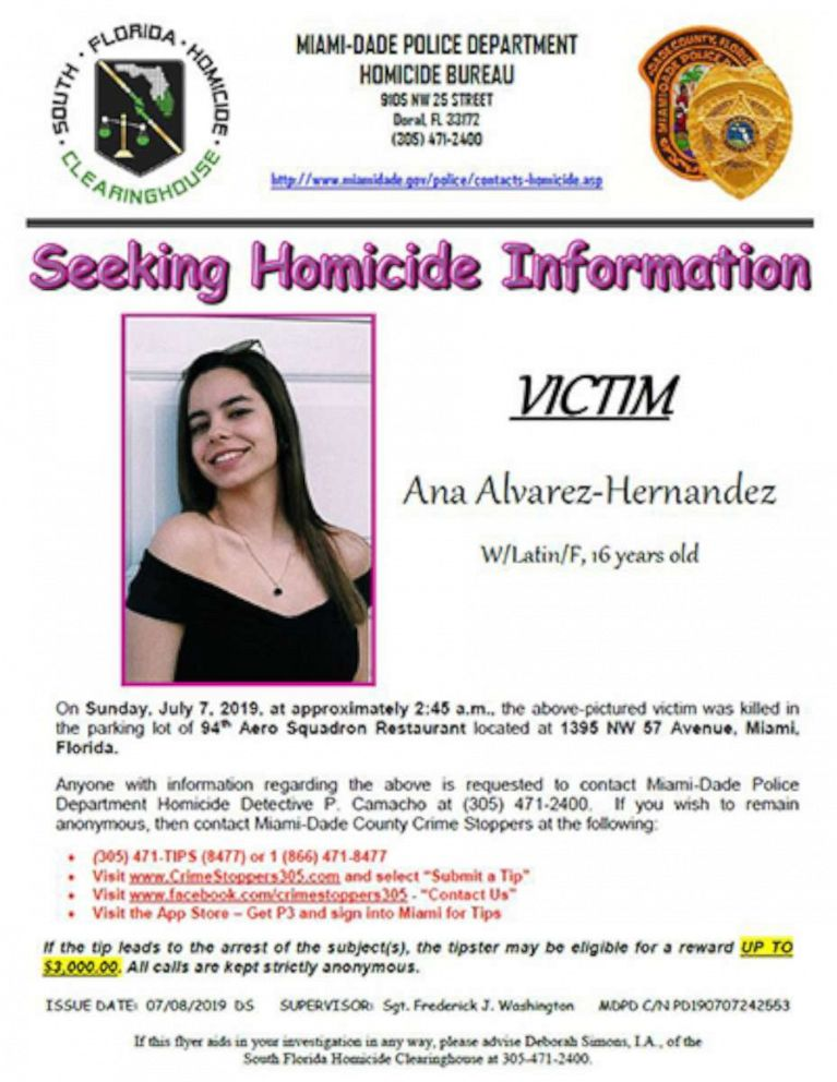 PHOTO: Ana Alvarez-Hernandez, 16, was shot and killed in Miami, Fla., on July 7, 2019.