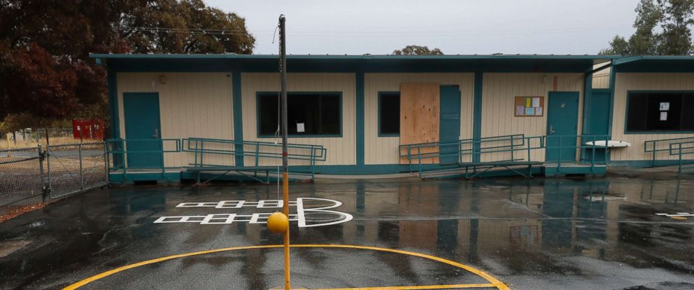 PHOTO: The Rancho Tehama Elementary School is partially boarded up in Rancho Tehama, Calif., after the school was attacked by a gunman, Nov. 15, 2017.