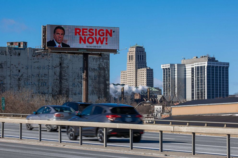 PHOTO: A billboard urging New York Governor Andrew Cuomo to resign is seen near downtown on March 2, 2021, in Albany, N.Y.