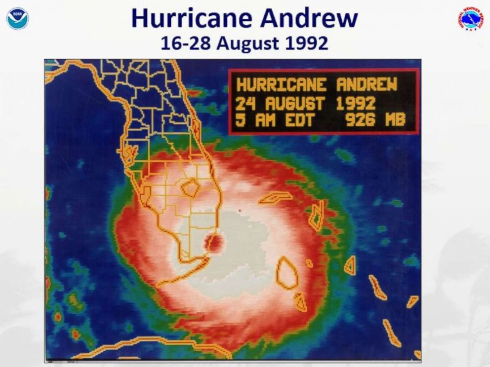 PHOTO: Hurricane Andrew, the last category 5 storm to strike the United States, made landfall in southern Miami-Dade County near Homestead on Aug. 24, 1992.