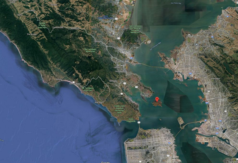 PHOTO: A Google Earth map shows Angel Island in California.