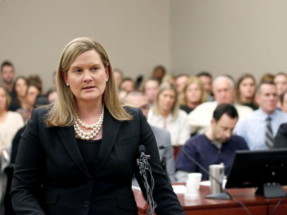 PHOTO: Prosecutor Angela Povilaitis speaks at the sentencing hearing for Larry Nassar, a former team USA Gymnastics doctor who pleaded guilty in Nov. 2017 to sexual assault charges, in Lansing, Michigan, Jan. 24, 2018.