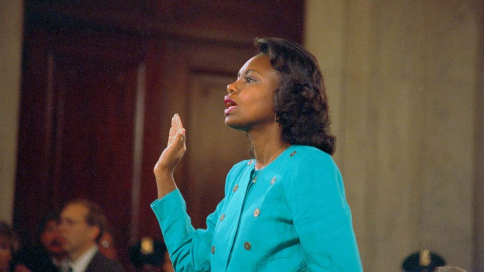 Professor Anita Hill is sworn-in before testifying at the Senate Judiciary hearing on the Clarence Thomas Supreme Court nomination. Miss Hill testified on her charges of alleged sexual harassment by Judge Thomas, Oct. 11, 1991.