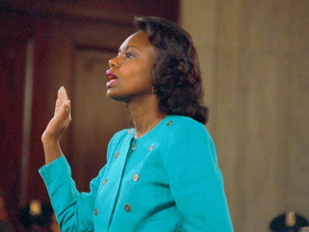 PHOTO: Professor Anita Hill is sworn-in before testifying at the Senate Judiciary hearing on the Clarence Thomas Supreme Court nomination. Miss Hill testified on her charges of alleged sexual harassment by Judge Thomas, Oct. 11, 1991.