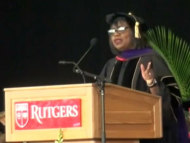 PHOTO: Anita Hill speaks at the Rutgers University-Camden commencement, May 17, 2018.