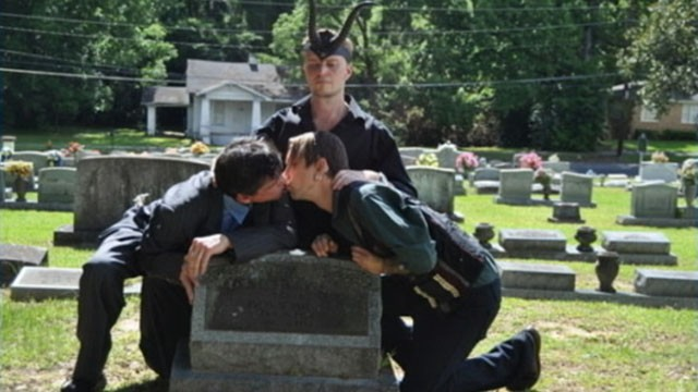 VIDEO: Satanist Temple members celebrate gay love with ritual at grave of Fred Phelps mother.